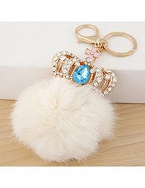 Fashion White Crown&fuzzy Ball Decorated Simple Design Alloy Fashion Keychain