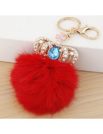 Fashion Red Crown&fuzzy Ball Decorated Simple Design Alloy Fashion Keychain