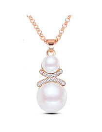 Fashion Gold Color Two Pearls Pendant Decorated Simple Design