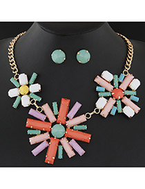 Elegant Multi-color Three Sunflower Shape Pendant Decorated Short Chain Design Alloy Jewelry Sets