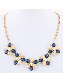 Temperament Sapphire Blue Diamond Flower Shape Decorated Short Chain Design