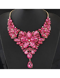 Luxury Plum Red Waterdrop Shape Diamond&flower Shape Decorated Collar Design