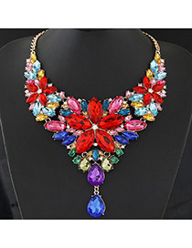 Luxury Multi-color Waterdrop Shape Diamond&flower Shape Decorated Collar Design