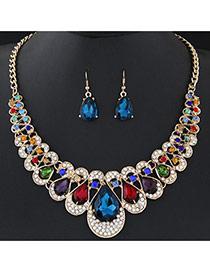 Temperament Multi-color Waterdrop Shape Diamond Decorated Short Chain Design