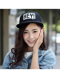 High-quality Black Letter Hey Pattern Simple Design Canvas Baseball Caps