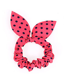 Cute Plum Red Dot Patttern Bowknot Shape Design Rubber Band Hair Band Hair Hoop