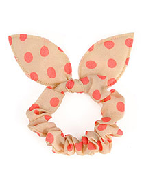 Vibrant Beige Big Dot Patttern Bowknot Shape Design Rubber Band Hair Band Hair Hoop