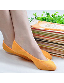 Candy Color Orange Shallow Mouth Invisible Socks Simple Design Charcoal Cotton Fashion Socks