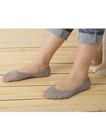 Preferential Gray Shallow Mouth Invisible Socks Simple Design Velvet Fashion Socks