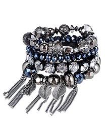 Brilliant Dark Blue Beads Decorated Multilayer Tassel Design Alloy Korean Fashion Bracelet