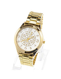 Discount Champagne Gold Round Pattern Simple Design Alloy Ladies Watches