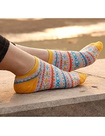 Vintage Yellow Flower Pattern Simple Design Combed Cotton Fashion Socks