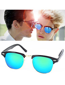 Personalized Blue Color Film Half-frame Design Resin Women Sunglasses