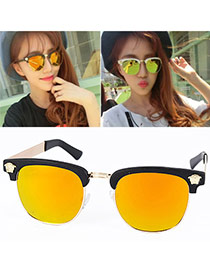 Outdoor Yellow Pharaoh Avatar Shape Half-frame Design Resin Women Sunglasses