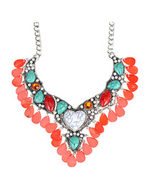 Trendy Red Gemstone Decorated Waterdrop Shape Design Alloy Fashion Necklaces
