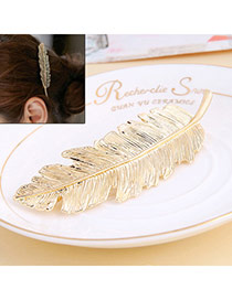 Classic Gold Color Leaf Shape Decorated Simple Design Alloy Hair clip hair claw