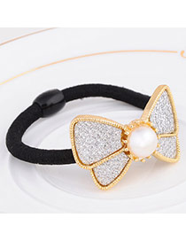 Elegant Silver Color Pearl Decorated Bowknot Shape Design Alloy Hair Band Hair Hoop