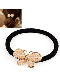 Temperament Gold Color Pearl Decorated Butterfly Shape Design Alloy Hair band hair hoop