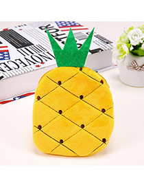 Wholesale Yellow Pineapple Shape Simple Design Flannel Wallet