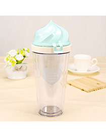 Contracted Blue 400ml Ice Cream Shape Cover Cups Design Glass Household Goods