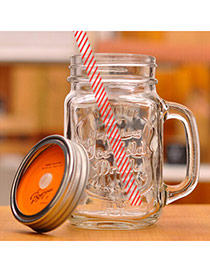 Health Orange 500ml Letter Pattern Cups Design With A Straw Glass Household goods