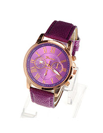 Fashion Purple Roman Numerals Pattern Simple Design Alloy Ladies Watches