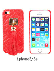 Imitation Leather Red Square Pattern Tassel Case Design Resin Iphone 5 5s