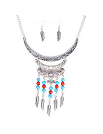 Ethnic Silver Color Beads Decorated Leaf Shape Tassel Design  Alloy Jewelry Sets