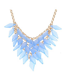 Trendy Blue Rhombus Shape Tassel Decorated Simple Design Alloy Korean Necklaces