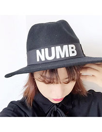 British Style Black Letter Numb Pattern Simple Design