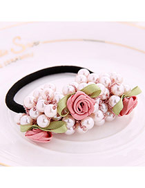 Pretty Light Pink Pearl Decorated Rose Shape Design Rubber Band Hair band hair hoop