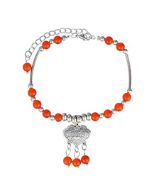Fashion Orange & Silver Color Beads Decorated Tassel Design  Alloy Fashion Anklets