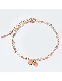High-quality Rose Gold Bell Shape Decorated Double Layer Design Alloy Fashion Anklets