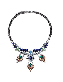 Glamour Dark Blue Gemstone Decorated Leaf Shape Design Alloy Bib Necklaces