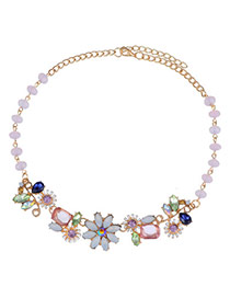 Sweet Mulitcolor Diamond Decorated Simple Design Alloy Bib Necklaces