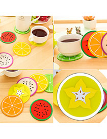 Candy Color  Yellow Fruit Pattern Coaster Simple Design  Silica Gel Household goods