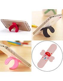 Creative Pink Lovely Pattern Girl U-shape Simple Design Alloy Phone holder