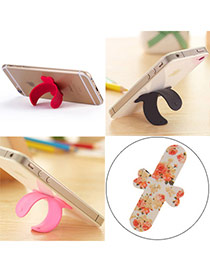 Creative Multicolor Rose Pattern U-shape Simple Design Alloy Phone holder
