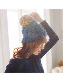 Fashion Dark Blue Ball Decorated Twist Simple Design Wool Knitting Wool Hats