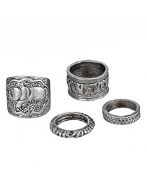 Retro Antique Silver Elephant Pattern Decorated Simple Design  Alloy Korean Rings