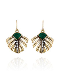 Retro Green&bronze Gemstone Decorated Leaf Shape Design Alloy