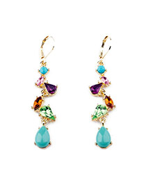 Sweet Multicolor Diamond Decorated Simple Design Alloy
