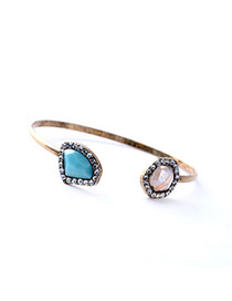 Retro Sky Blue Irregular Gemstone Decorated Simple Design Alloy