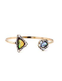 Retro Multicolor Irregular Gemstone Decorated Simple Design Alloy Fashion Bangles