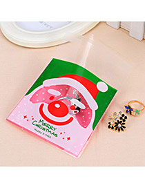 Sweet Red&green Smiling Face Santa Clau Pattern Simple Design (100pcs)