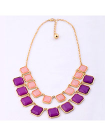 Sweet Multicolor Candy Color Square Gemstone Decorated Multilayer Design Alloy Bib Necklaces