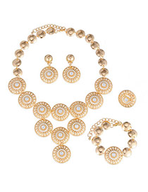 Charming Gold Color Round Shape Decorated Hollow Out Design Ally Jewelry Sets