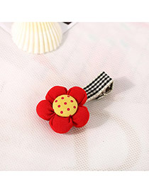 Fashion Pink&plum Red Dot Pattern Decorated Flower Design Fabric Hair clip hair claw