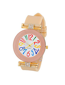 Sweet Beige Diamond Decorated Simple Design  Alloy Ladies Watches