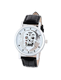 Bardian Black&silver Color Skull Pattern Decorated Hollow Out Design